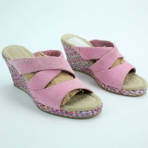 Rockport Pink Rainbow Woven Suede Wedges Soft 5